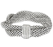 Vicenza Silver Sterling 7-1/4 Braided Mesh Bracelet with Crystal Clasp - J286267
