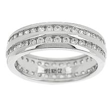 Epiphany Diamonique 1.25ct Eternity Double Row Band Ring