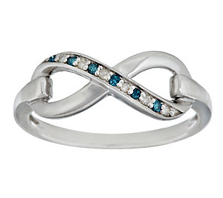 Product image of Blue and White Infinity Diamond Ring, Sterling, by Affinity