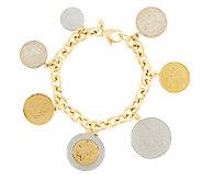 Veronese 18K Clad 7-1/4 Lire Coin Charm Rolo Bracelet - J290267