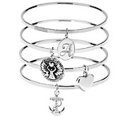 Stainless Steel Inspirational & Initial Bangle Bracelets Set of 4 - J296067