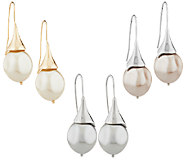Set of 3 Simulated Pearl Drop Earrings - J296867