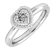 Simply Stacks Sterling Heart Ring with Diamondsin Center - J299267