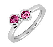 Simply Stacks Sterling Pink Tourmaline Double-Sq Gemstone Ring - J299367