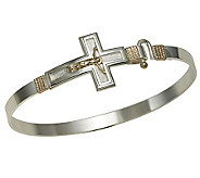 Bold Crucifix Bangle, Sterling Silver/14K RoseGold - J303767