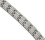 Forza 8-1/2 Brushed and Polished Cable Inlay Bracelet - J304567