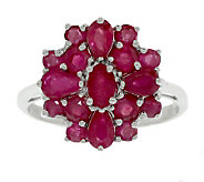 Sterling 1.65 ct tw Ruby Cluster Ring - J304767