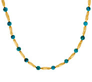 Bronze 20 Turquoise Bead Station Necklace by Bronzo Italia - J323967