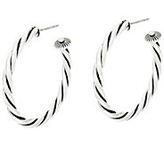 American West Sterling Silver Rope Design 1-1/2 Hoop Earrings - J330567