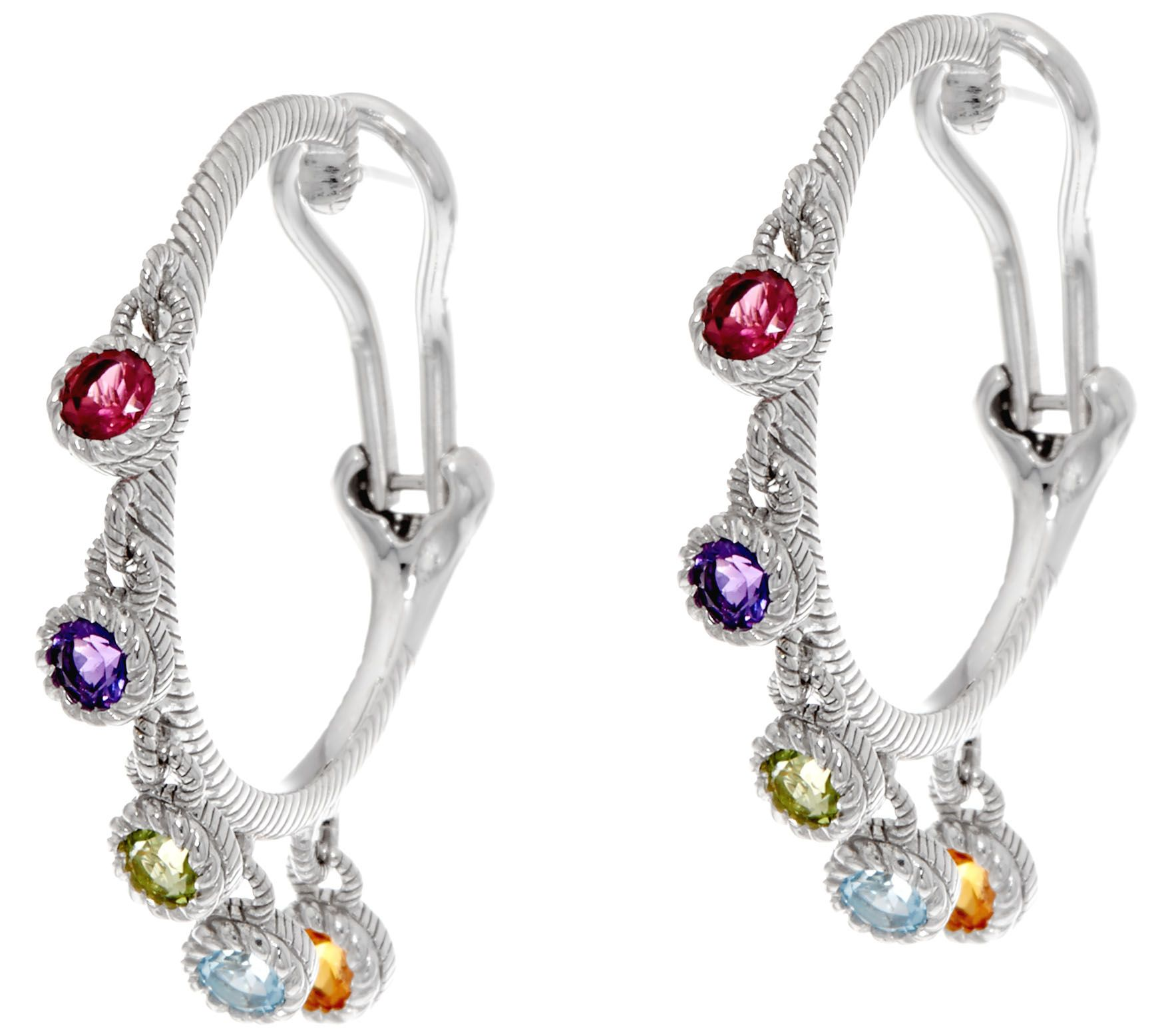 Judith Ripka Sterling 100 Cttw Gemstone Hoop Earrings  J334467
