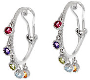 Judith Ripka Sterling 1.00 cttw Gemstone Hoop Earrings - J334467