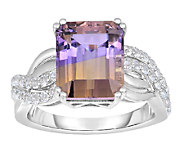 5.00 cttw Elongated Ametrine & White Topaz Ring, Sterling - J338667