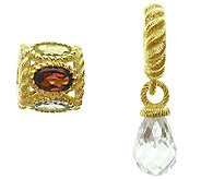 Judith Ripka Sterling 14K Clad Gemstone & Diamonique Charms - J339767