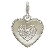 Judith Ripka Sterling Diamonique & Mother-of-Pe arl Heart Char - J339967
