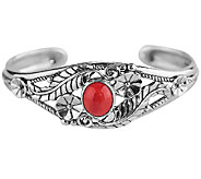 American West Sterling Red Coral Floral Cuff Bracelet - J341167