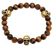 Forza Mens Stainless Tiger Eye Stretch Bracele t w/ Skulls - J343767