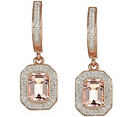 3.30 cttw Morganite & 3/10 cttw Diamond Earrings, Sterling - J343867