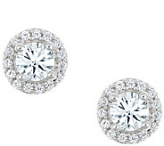 Round Halo Earrings, 14K White Gold, 1 cttw, byAffinity - J345267