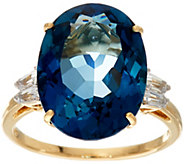 London Blue Topaz & Baguette Sapphire Ring, 14K, 10.55 ct - J346167