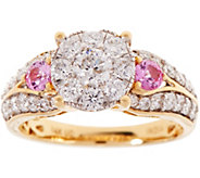 Cluster Diamond & Pink Sapphire Ring, 14K Gold 1.20 cttw, by Affinity - J346467