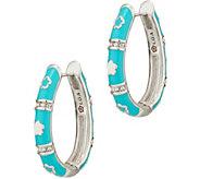 Lauren G Adams Silvertone Colored Enamel Hoop Earrings - J347467