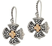 Barbara Bixby Sterling/18K Maltese Cross Drop Earrings - J350467