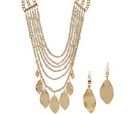 Linea by Louis DellOlio Multi Leaf and Bead Necklace and Earring Set - J352567