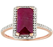14K Rose Gold Emerald-Cut Ruby w/ 1/5 cttw Diamond Halo Ring - J384567