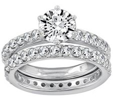 Epiphany Diamonique 1.90 ct tw 2-piece Round Ring Set