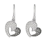 Suspicion Sterling Marcasite and Crystal HeartDangle Earrings - J112468