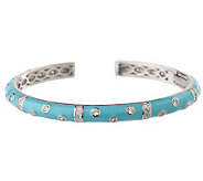 Hidalgo Diamonique Sterling Enamel Scattered Stone Bangle - J159168