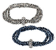 Susan Graver Set of 2 Metallic Stretch Bracelets - J271368