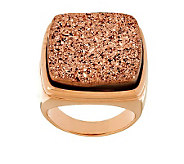 Bronze Bold Cushion Shape Drusy Quartz Ring by Bronzo Italia - J272568