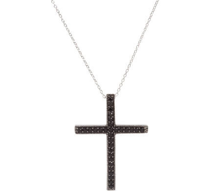 1.05 ct tw Black Spinel Sterling Cross Pendant w/Chain