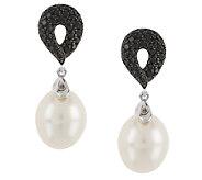 Honora Cultured Pearl 8.0mm & .40 ct tw Black Spinel Sterling Drop Earrings - J287568