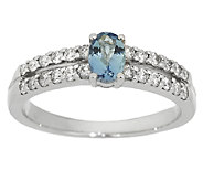 0.30 ct Santa Maria Aquamarine & Diamond Ring, 14K Gold - J292068
