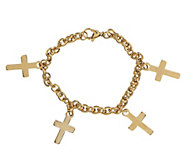 Stainless Steel Multi-Cross Charm Bracelet - J292768