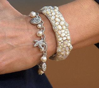 Judith Ripka Sterling Pearl & Diamonique Sea Life Charm Bracelet 7 1/4