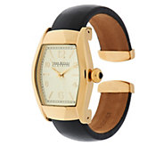 Joan Rivers Classic Leather Hinged Bangle Watch - J294868