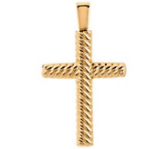 Oro Nuovo Polished Ribbed Twist Cross Pendant 14K - J295668