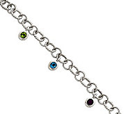 Sterling Multi-Gemstone Twisted Link Dangle Bracelet - J309968