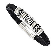 Stainless Steel 8-1/2 Black Leather Woven Bead Bracelet - J313268
