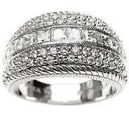 Judith Ripka Sterling 2ct Round & Princess-CutDiamonique Ring - J313968
