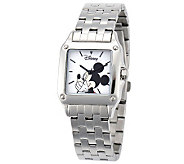 Disney Womens Square Stainless Steel Mickey Watch - J315568