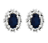 Oval Gemstone with Halo Stud Earrings, 14K White Gold - J315968