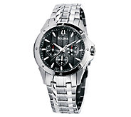 Bulova Mens Stainless Steel Black Textured Dial Watch - J316468