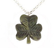 Connemara Marble Carved Shamrock Pendant with Sterling Chain - J316768