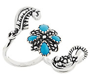 American West Sleeping Beauty Turquoise Sterling Double Ring - J318868