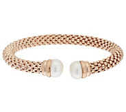 As Is Honora Cultured Pearl 11.0mm Textured Bronze Cuff Bracelet - J319468
