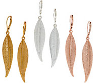 Joan Rivers Set of 3 Linear Leaf Drop Earrings - J321568